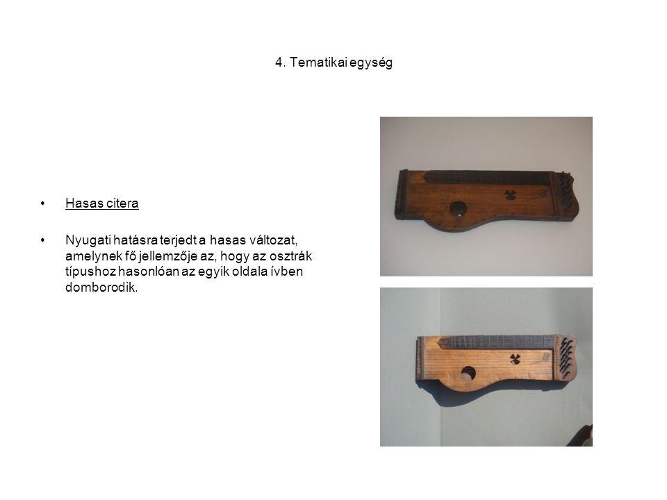 4. Tematikai egység •Hasas citera •Nyugati hatásra terjedt a hasas változat, amelynek fő jellemzője az, hogy az osztrák típushoz hasonlóan az egyik ol