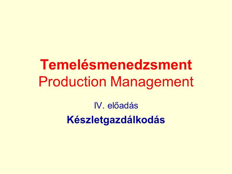 Készlet •a vállalatnál adott pillanatban meglévő, a termelési vertikum különböző fokozatában elhelyezkedő anyagok, félkész-, és késztermékek állománya.
