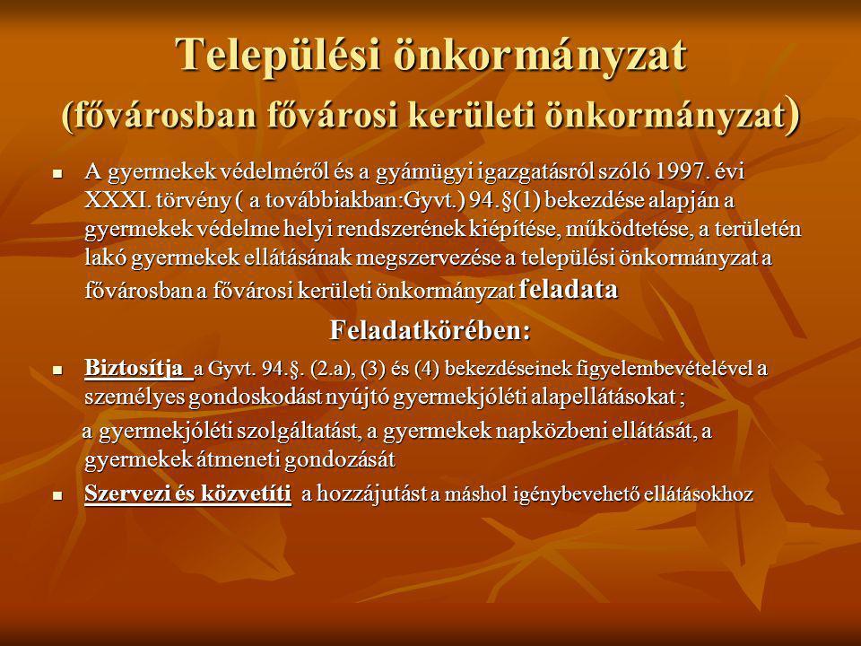 Települési önkormányzat (fővárosban fővárosi kerületi önkormányzat )  A gyermekek védelméről és a gyámügyi igazgatásról szóló 1997.
