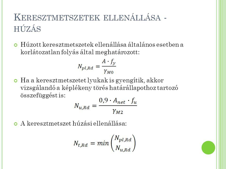 K ERESZTMETSZETEK ELLENÁLLÁSA - HÚZÁS Feszített csavaros (C kategóriájú) kapcsolattal rendelkező keresztmetszet esetén az anyag ellenállásakor a következő képlettel kell számolni: EC3_AGYU: 3.1 és 3.2 példa