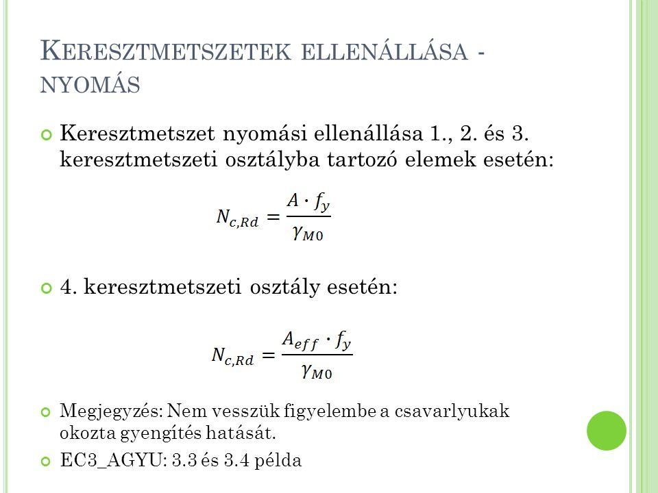 K ERESZTMETSZETEK ELLENÁLLÁSA - NYÍRÁS A keresztmetszet nyírási ellenállása:, ahol A V az ún.