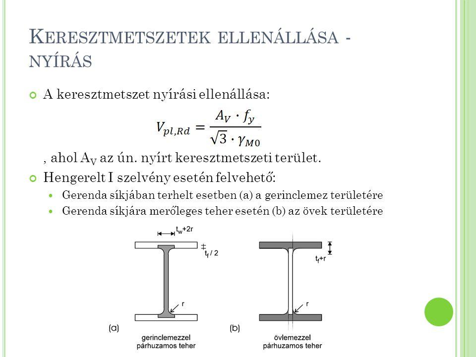 S TABILITÁSI ELLENÁLLÁS – KIFORDULÁS A KIFORDULÁSVIZSGÁLAT ÁLTALÁNOS MÓDSZERE Kritikus kifordulási nyomaték meghatározása: A kifordulási ellenállás számítása: EC3_AGYU: 3.13 példa
