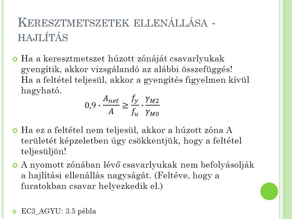 G LOBÁLIS STABILITÁSI TEHERBÍRÁS Normálerő okozta kihajlás és a szimmetria síkban ható nyomaték okozta kifordulás interakciója Vizsgált szerkezeti elem globális stabilitásra megfelel, ha kielégíti az alábbi képleteket:, ahol N Ed, M y,Ed a normálerő és a legnagyobb nyomaték tervezési értéke