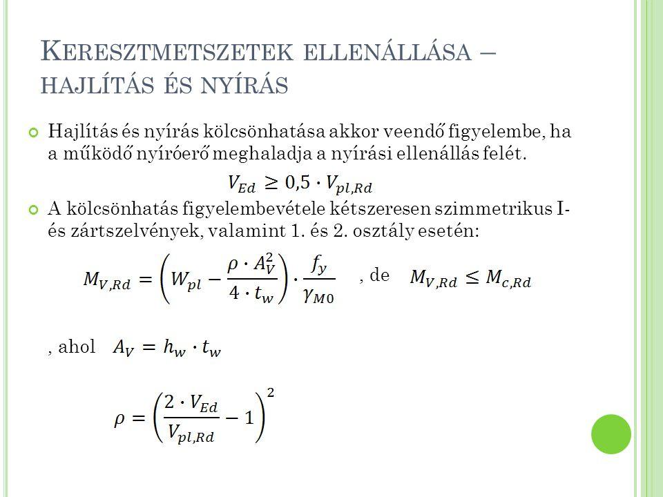 S TABILITÁSI ELLENÁLLÁS - KIHAJLÁS A kritikus erő meghatározása: Karcsúság számítása:, ahol a kihajlási hossz, i pedig az inerciasugár l