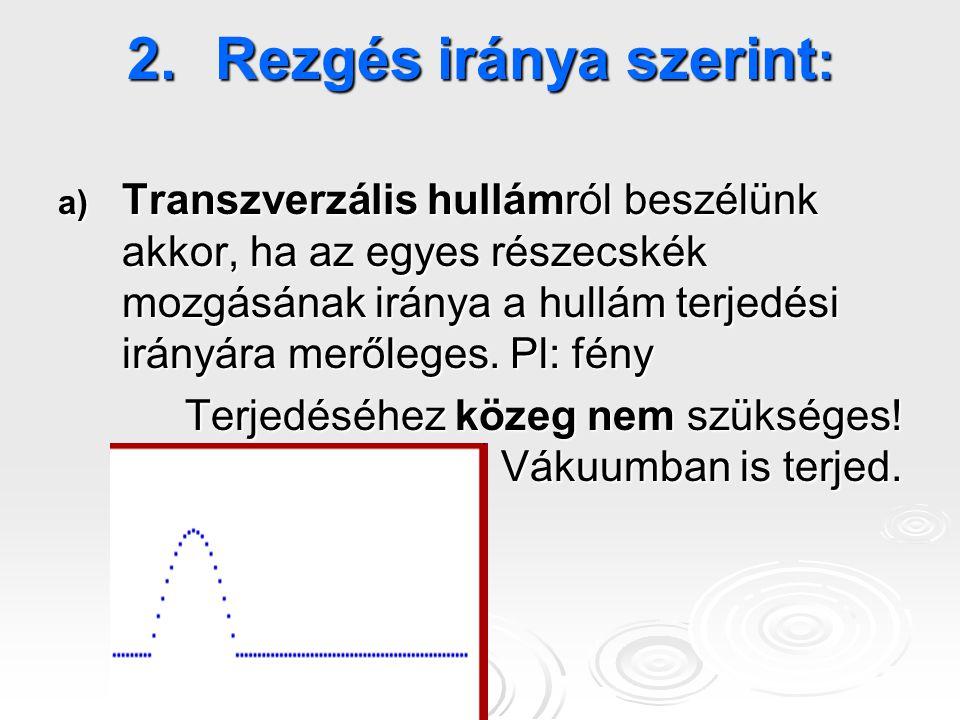 2.Rezgés iránya szerint : a) Transzverzális hullámról beszélünk akkor, ha az egyes részecskék mozgásának iránya a hullám terjedési irányára merőleges.