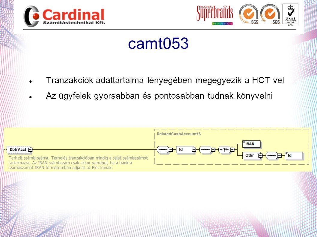 camt053  Tranzakciók adattartalma lényegében megegyezik a HCT-vel  Az ügyfelek gyorsabban és pontosabban tudnak könyvelni