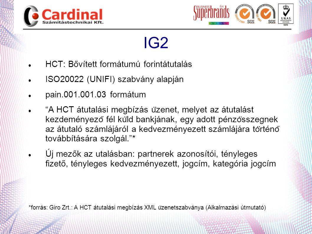 """IG2  HCT: Bővített formátumú forintátutalás  ISO20022 (UNIFI) szabvány alapján  pain.001.001.03 formátum  """"A HCT átutalási megbízás u ̈ zenet,"""