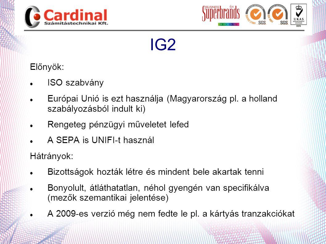 IG2 Előnyök:  ISO szabvány  Európai Unió is ezt használja (Magyarország pl. a holland szabályozásból indult ki)  Rengeteg pénzügyi műveletet lefed
