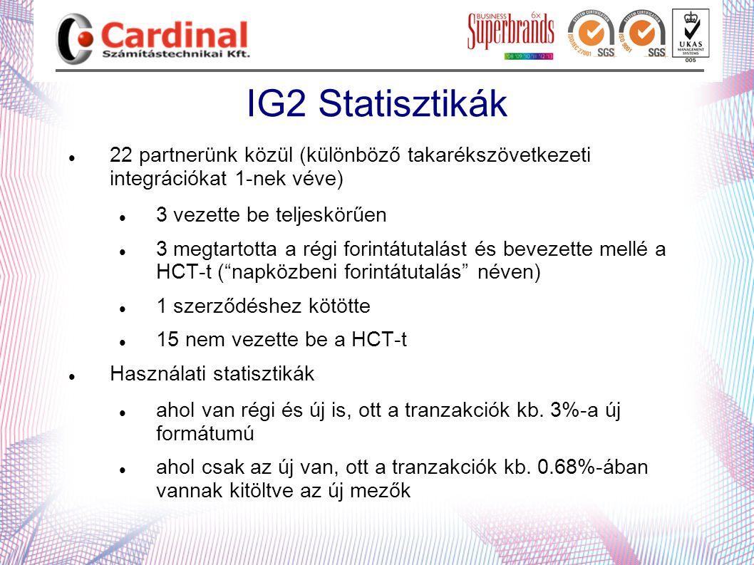 IG2 Statisztikák  22 partnerünk közül (különböző takarékszövetkezeti integrációkat 1-nek véve)  3 vezette be teljeskörűen  3 megtartotta a régi for