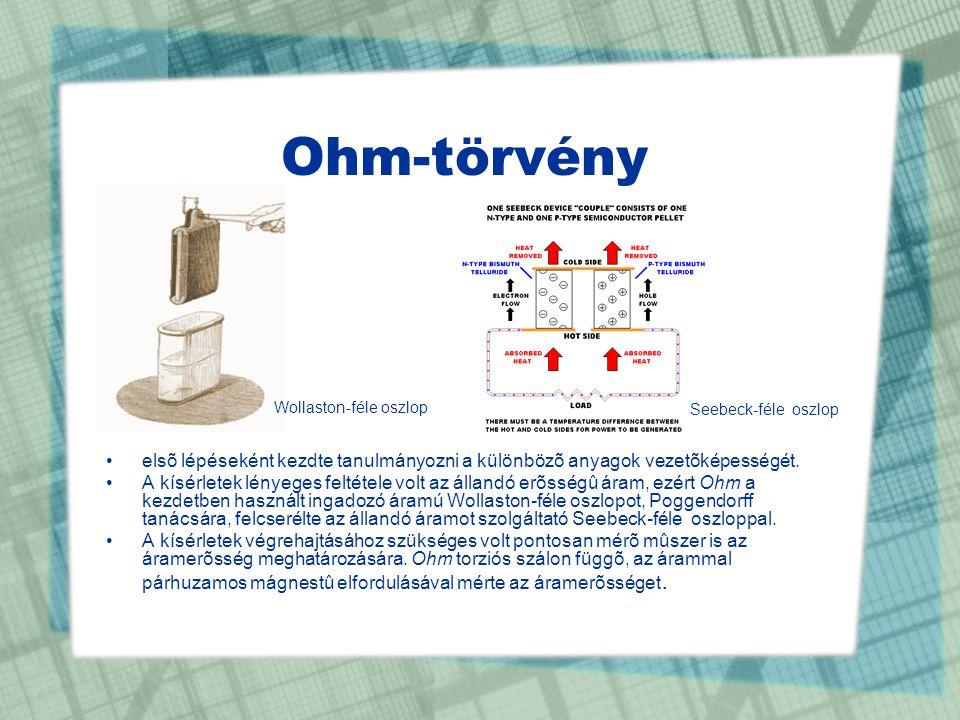 Ohm-törvény •elsõ lépéseként kezdte tanulmányozni a különbözõ anyagok vezetõképességét. •A kísérletek lényeges feltétele volt az állandó erõsségû áram