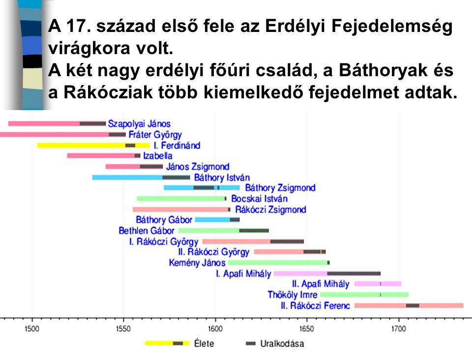 A 17. század első fele az Erdélyi Fejedelemség virágkora volt. A két nagy erdélyi főúri család, a Báthoryak és a Rákócziak több kiemelkedő fejedelmet