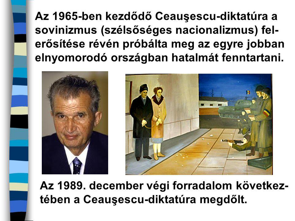 Az 1965-ben kezdődő Ceauşescu-diktatúra a sovinizmus (szélsőséges nacionalizmus) fel- erősítése révén próbálta meg az egyre jobban elnyomorodó országb