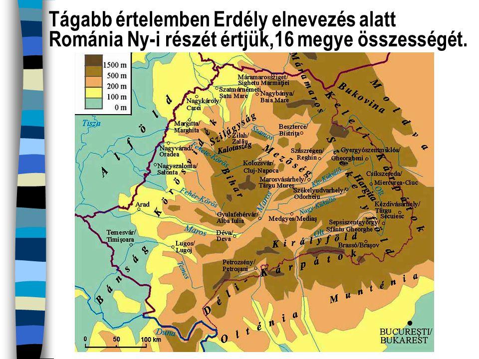 """Szűkebb értelemben Erdély ennek a területnek a középső-K-i (""""Király-hágón túli ) részét jelenti, amely az egykori Magyar Királyságon belül bizonyos önállósággal rendelkezett."""