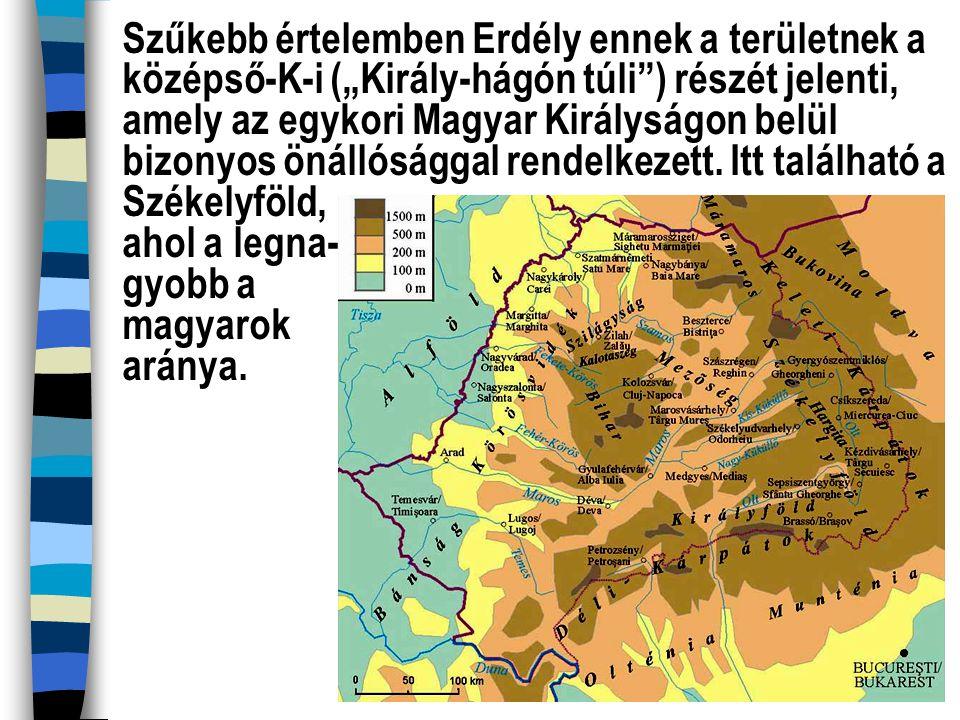 """Szűkebb értelemben Erdély ennek a területnek a középső-K-i (""""Király-hágón túli"""") részét jelenti, amely az egykori Magyar Királyságon belül bizonyos ön"""