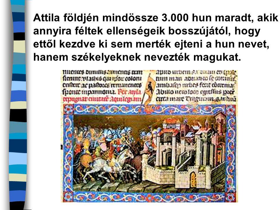 Attila földjén mindössze 3.000 hun maradt, akik annyira féltek ellenségeik bosszújától, hogy ettől kezdve ki sem merték ejteni a hun nevet, hanem szék