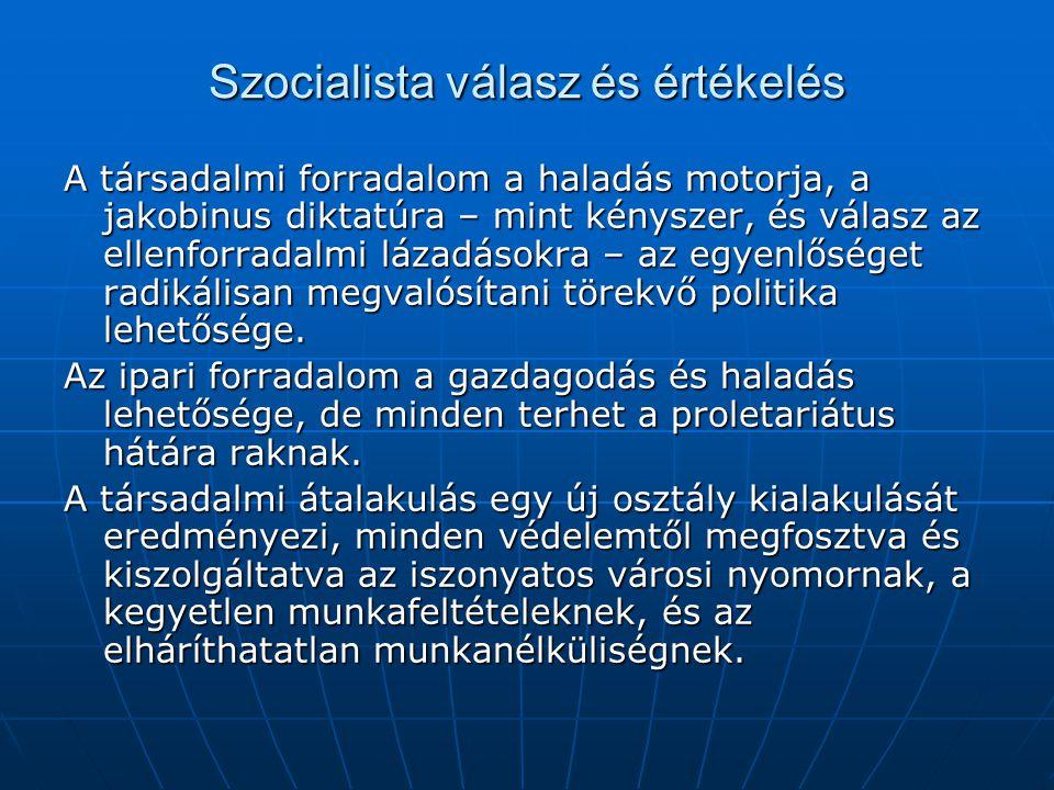 Szocialista válasz és értékelés A társadalmi forradalom a haladás motorja, a jakobinus diktatúra – mint kényszer, és válasz az ellenforradalmi lázadás