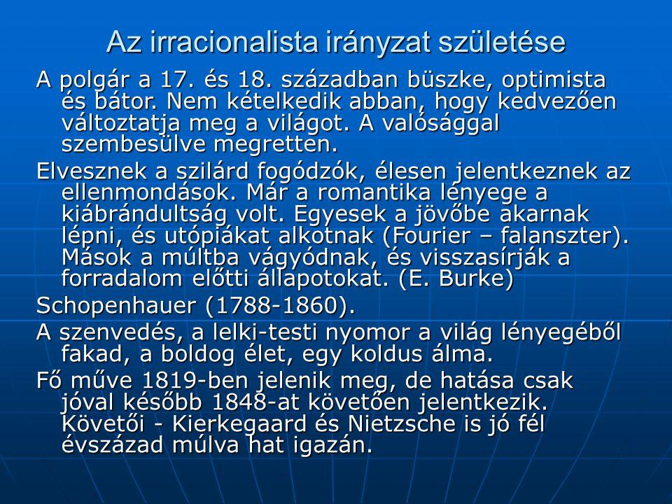 Az irracionalista irányzat születése A polgár a 17. és 18. században büszke, optimista és bátor. Nem kételkedik abban, hogy kedvezően változtatja meg