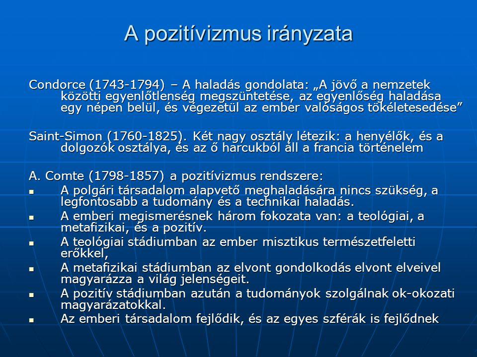 """A pozitívizmus irányzata Condorce (1743-1794) – A haladás gondolata: """"A jövő a nemzetek közötti egyenlőtlenség megszüntetése, az egyenlőség haladása e"""