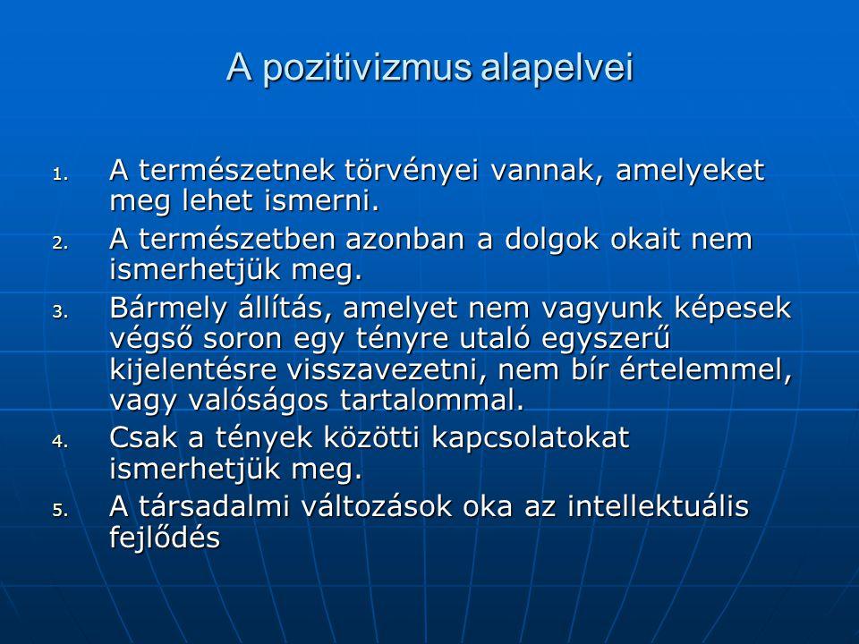 A pozitivizmus alapelvei 1. A természetnek törvényei vannak, amelyeket meg lehet ismerni. 2. A természetben azonban a dolgok okait nem ismerhetjük meg