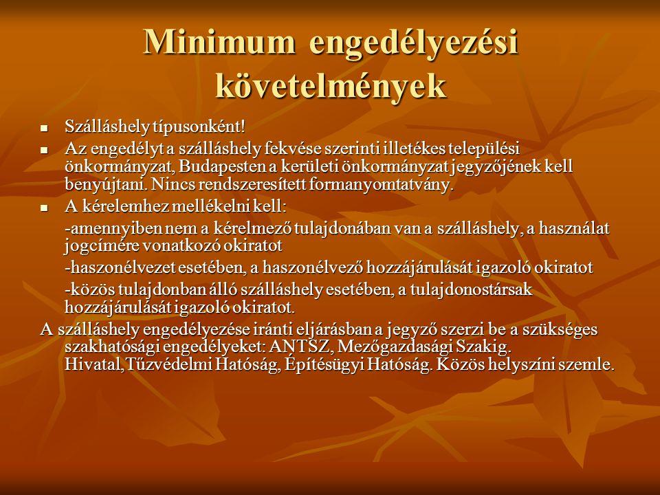 Minimum engedélyezési követelmények  Szálláshely típusonként.