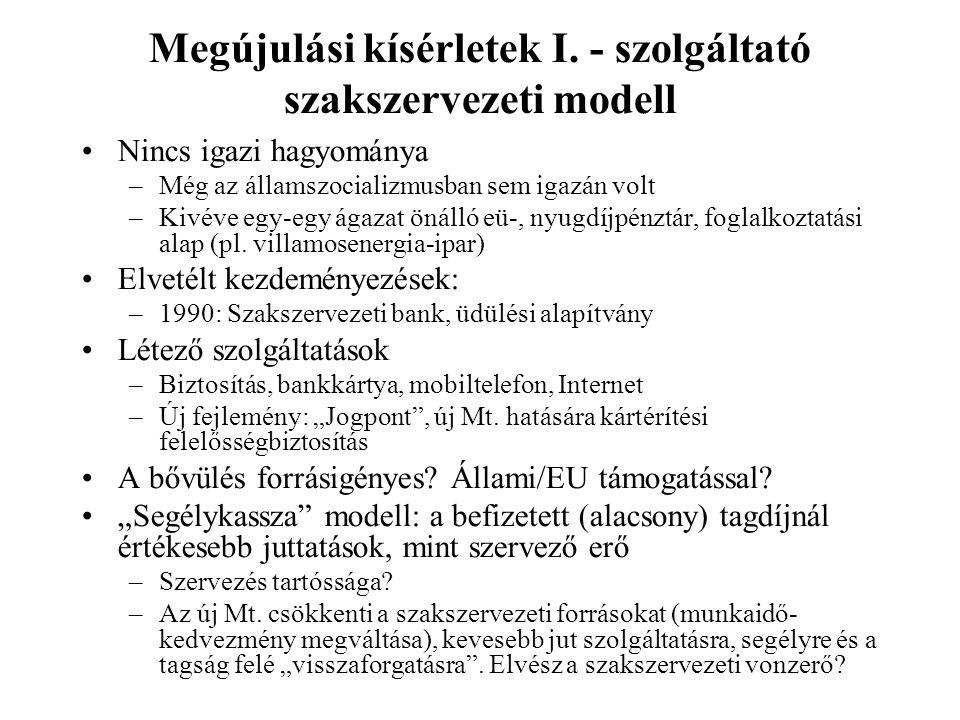 Megújulási kísérletek I. - szolgáltató szakszervezeti modell •Nincs igazi hagyománya –Még az államszocializmusban sem igazán volt –Kivéve egy-egy ágaz