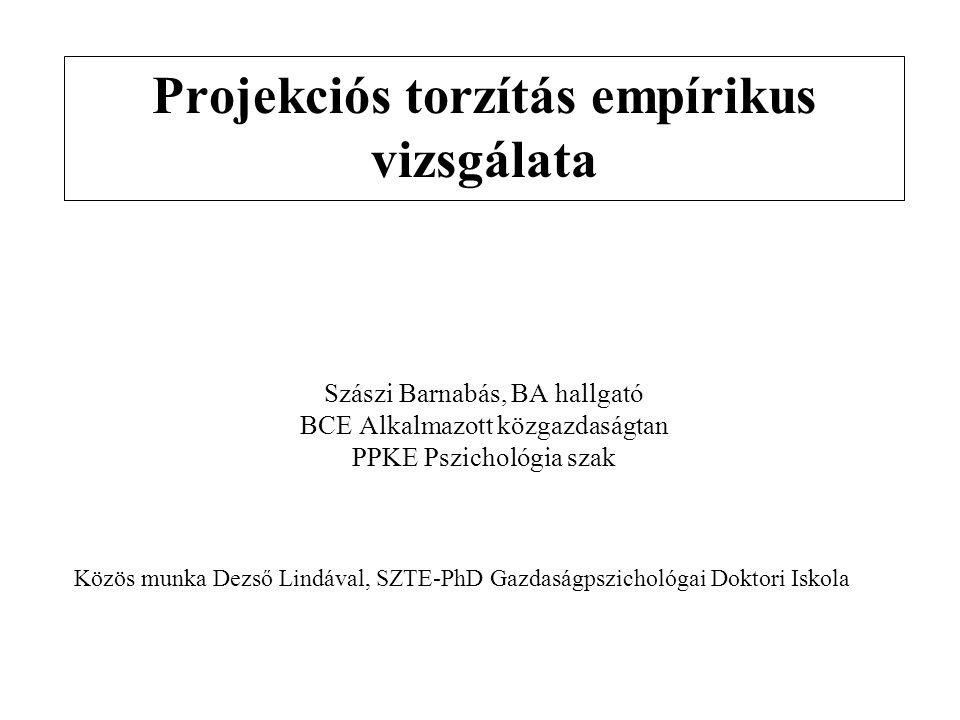 Szászi Barnabás, BA hallgató BCE Alkalmazott közgazdaságtan PPKE Pszichológia szak Projekciós torzítás empírikus vizsgálata Közös munka Dezső Lindával