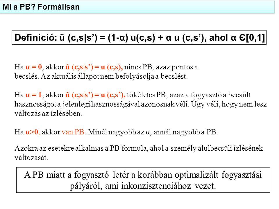 Definíció: ũ (c,s|s') = (1-α) u(c,s) + α u (c,s'), ahol α Є[0,1] Ha α = 0, akkor ũ (c,s|s') = u (c,s), nincs PB, azaz pontos a becslés. Az aktuális ál