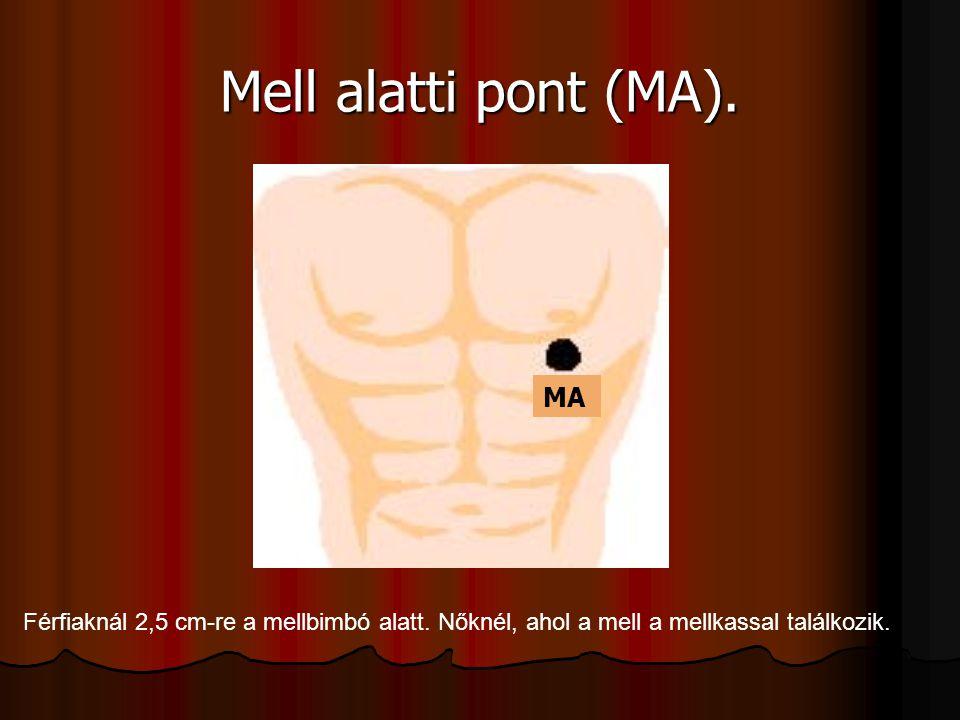 Mell alatti pont (MA).Férfiaknál 2,5 cm-re a mellbimbó alatt.