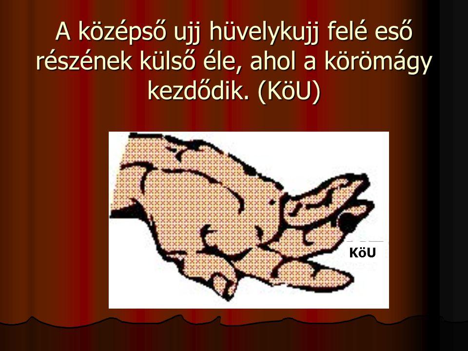 A középső ujj hüvelykujj felé eső részének külső éle, ahol a körömágy kezdődik. (KöU) KöU