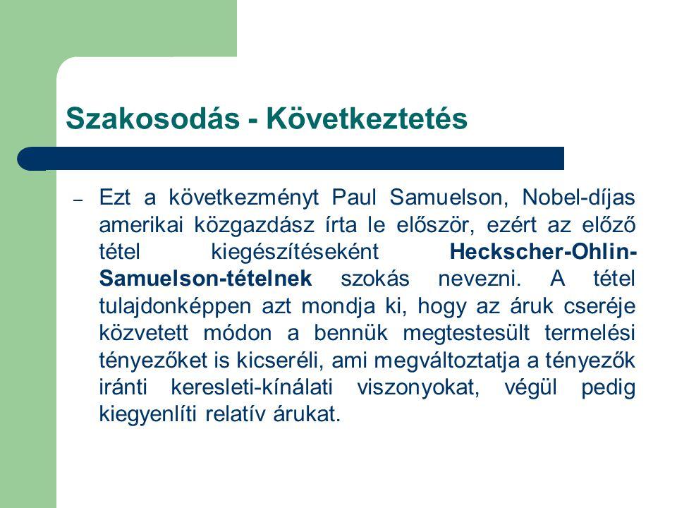 – Ezt a következményt Paul Samuelson, Nobel-díjas amerikai közgazdász írta le először, ezért az előző tétel kiegészítéseként Heckscher-Ohlin- Samuelson-tételnek szokás nevezni.