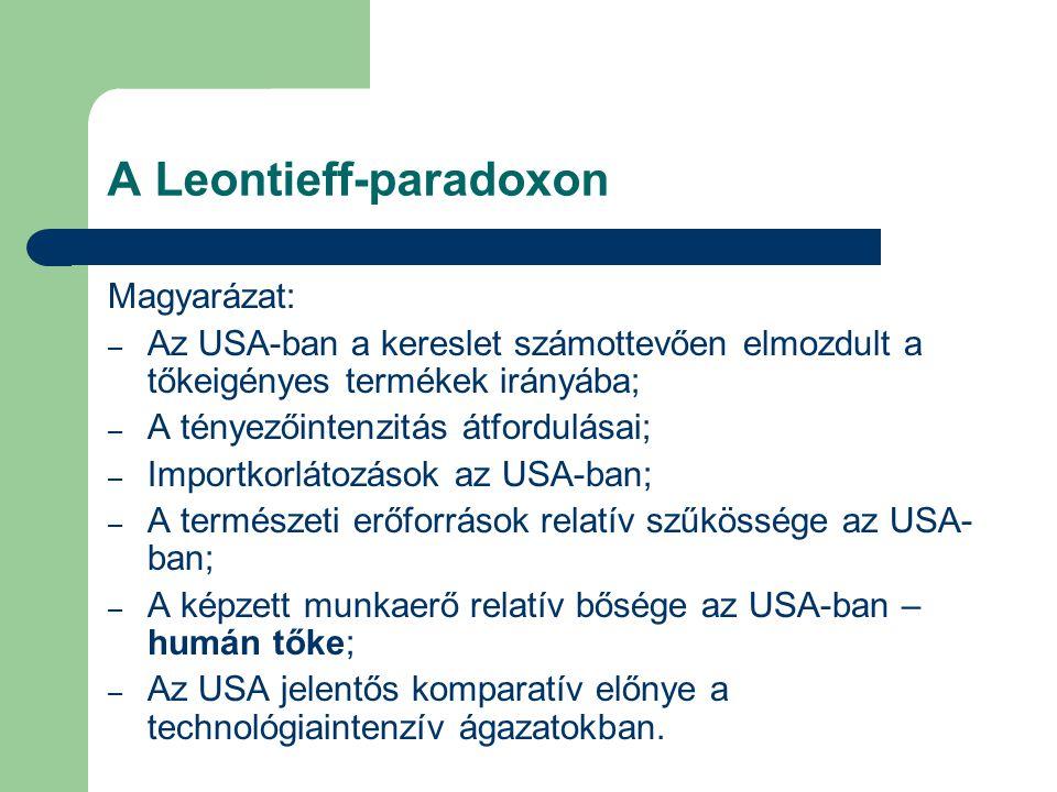 A Leontieff-paradoxon Magyarázat: – Az USA-ban a kereslet számottevően elmozdult a tőkeigényes termékek irányába; – A tényezőintenzitás átfordulásai; – Importkorlátozások az USA-ban; – A természeti erőforrások relatív szűkössége az USA- ban; – A képzett munkaerő relatív bősége az USA-ban – humán tőke; – Az USA jelentős komparatív előnye a technológiaintenzív ágazatokban.
