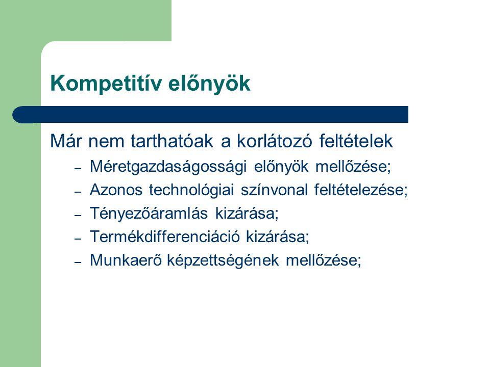 Kompetitív előnyök Már nem tarthatóak a korlátozó feltételek – Méretgazdaságossági előnyök mellőzése; – Azonos technológiai színvonal feltételezése; – Tényezőáramlás kizárása; – Termékdifferenciáció kizárása; – Munkaerő képzettségének mellőzése;