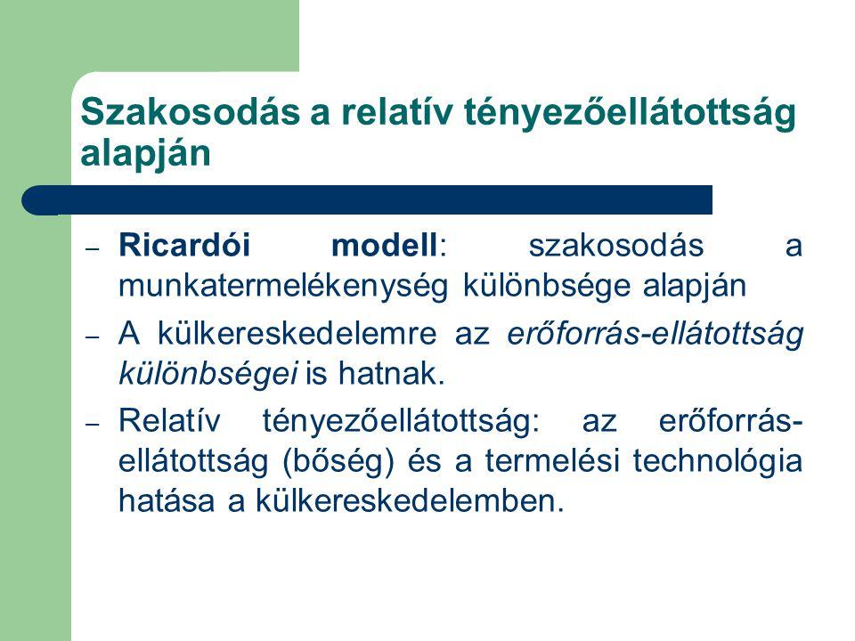 Szakosodás a relatív tényezőellátottság alapján – Ricardói modell: szakosodás a munkatermelékenység különbsége alapján – A külkereskedelemre az erőforrás-ellátottság különbségei is hatnak.