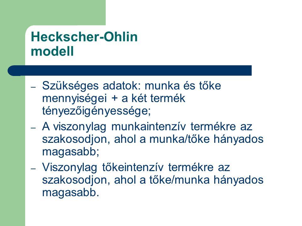 Heckscher-Ohlin modell – Szükséges adatok: munka és tőke mennyiségei + a két termék tényezőigényessége; – A viszonylag munkaintenzív termékre az szakosodjon, ahol a munka/tőke hányados magasabb; – Viszonylag tőkeintenzív termékre az szakosodjon, ahol a tőke/munka hányados magasabb.