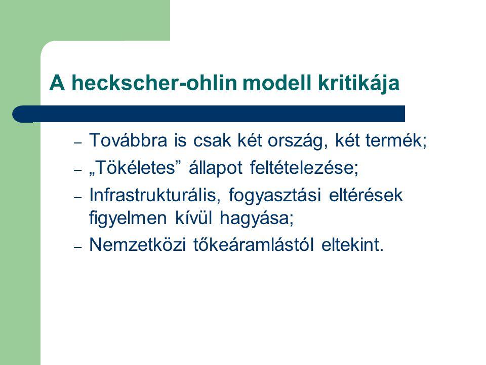 """A heckscher-ohlin modell kritikája – Továbbra is csak két ország, két termék; – """"Tökéletes állapot feltételezése; – Infrastrukturális, fogyasztási eltérések figyelmen kívül hagyása; – Nemzetközi tőkeáramlástól eltekint."""