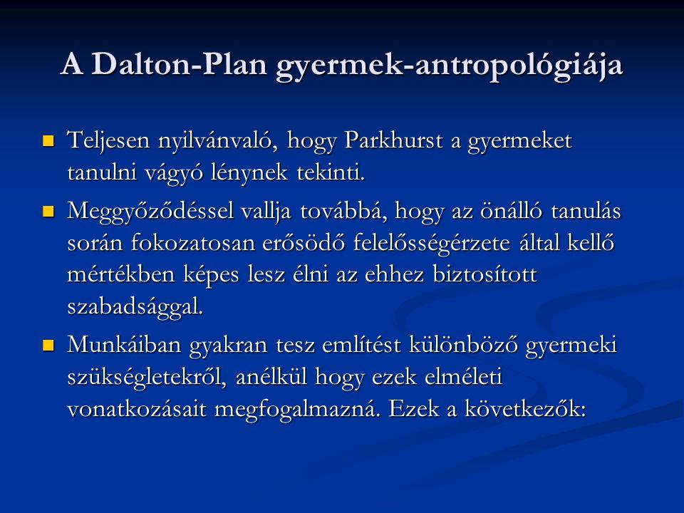 A Dalton-Plan gyermek-antropológiája  Teljesen nyilvánvaló, hogy Parkhurst a gyermeket tanulni vágyó lénynek tekinti.  Meggyőződéssel vallja továbbá