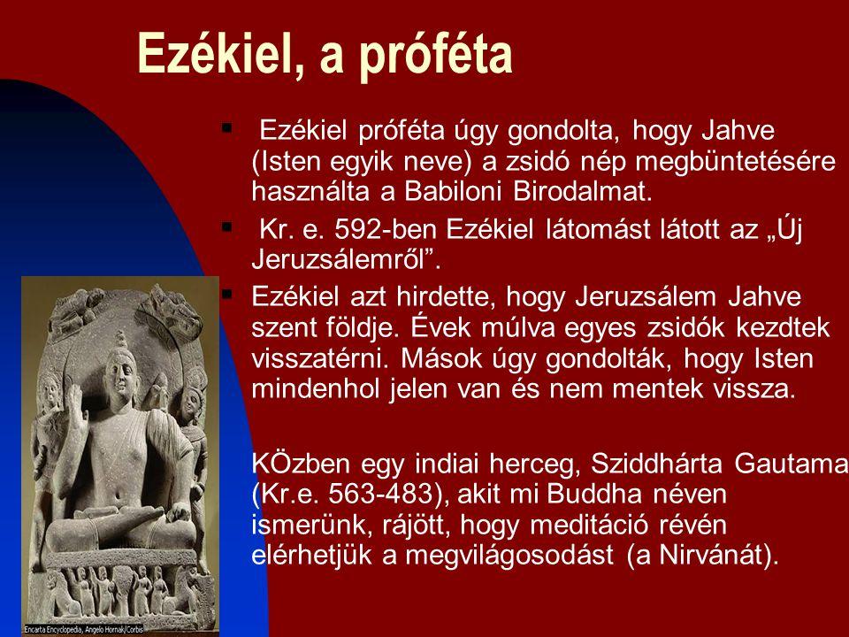 Ezékiel, a próféta  Ezékiel próféta úgy gondolta, hogy Jahve (Isten egyik neve) a zsidó nép megbüntetésére használta a Babiloni Birodalmat.  Kr. e.
