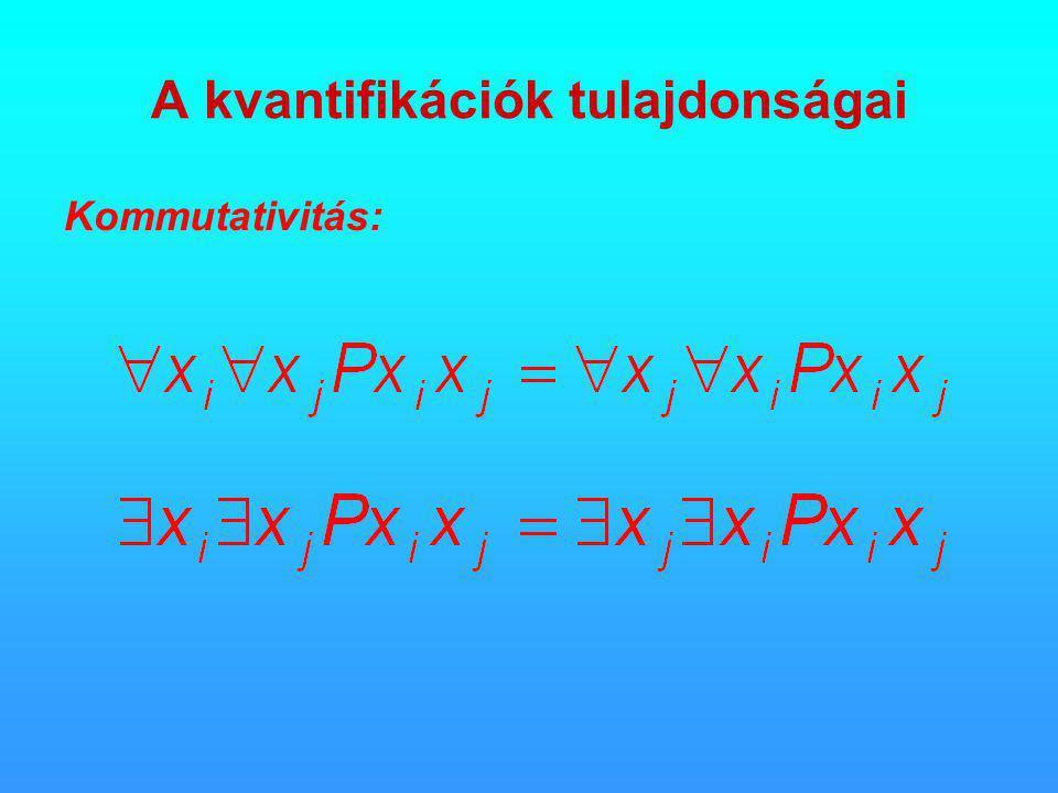 A kvantifikációk tulajdonságai Kommutativitás: