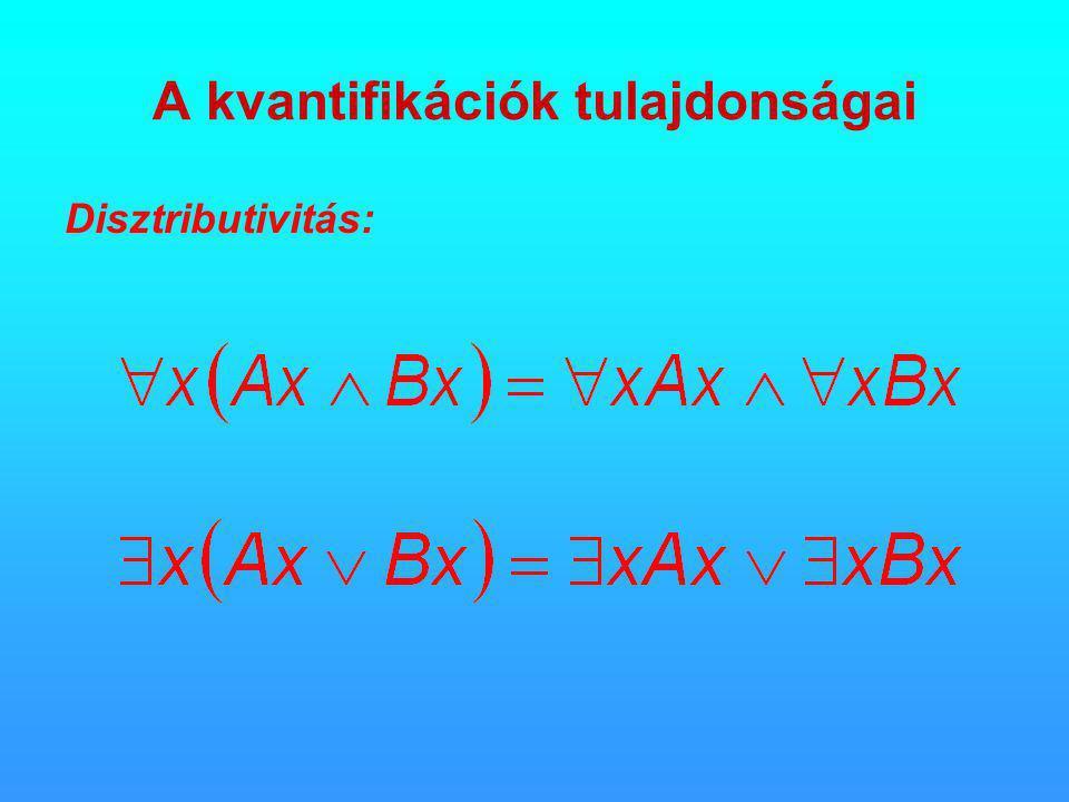 A kvantifikációk tulajdonságai Disztributivitás: