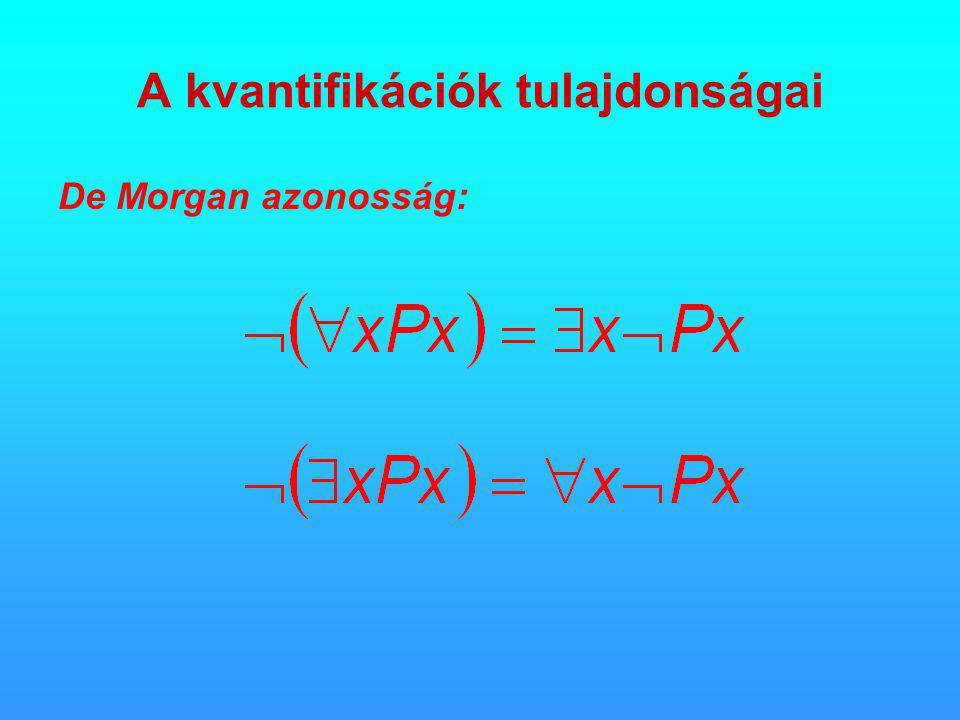 A kvantifikációk tulajdonságai De Morgan azonosság: