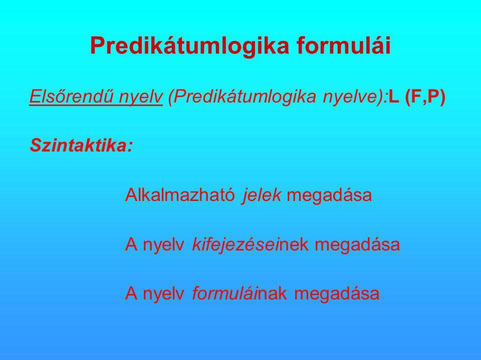 Predikátumlogika formulái Elsőrendű nyelv (Predikátumlogika nyelve):L (F,P) Szintaktika: Alkalmazható jelek megadása A nyelv kifejezéseinek megadása A nyelv formuláinak megadása