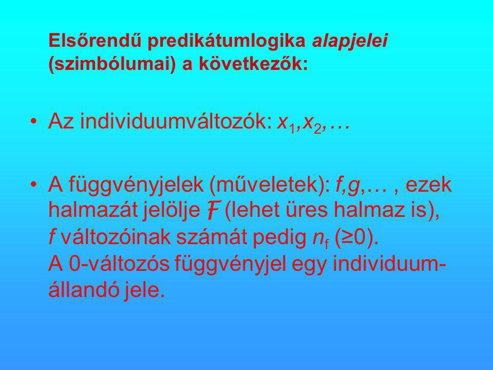 Elsőrendű predikátumlogika alapjelei (szimbólumai) a következők: •Az individuumváltozók: x 1,x 2,… •A függvényjelek (műveletek): f,g,…, ezek halmazát jelölje F (lehet üres halmaz is), f változóinak számát pedig n f (≥0).