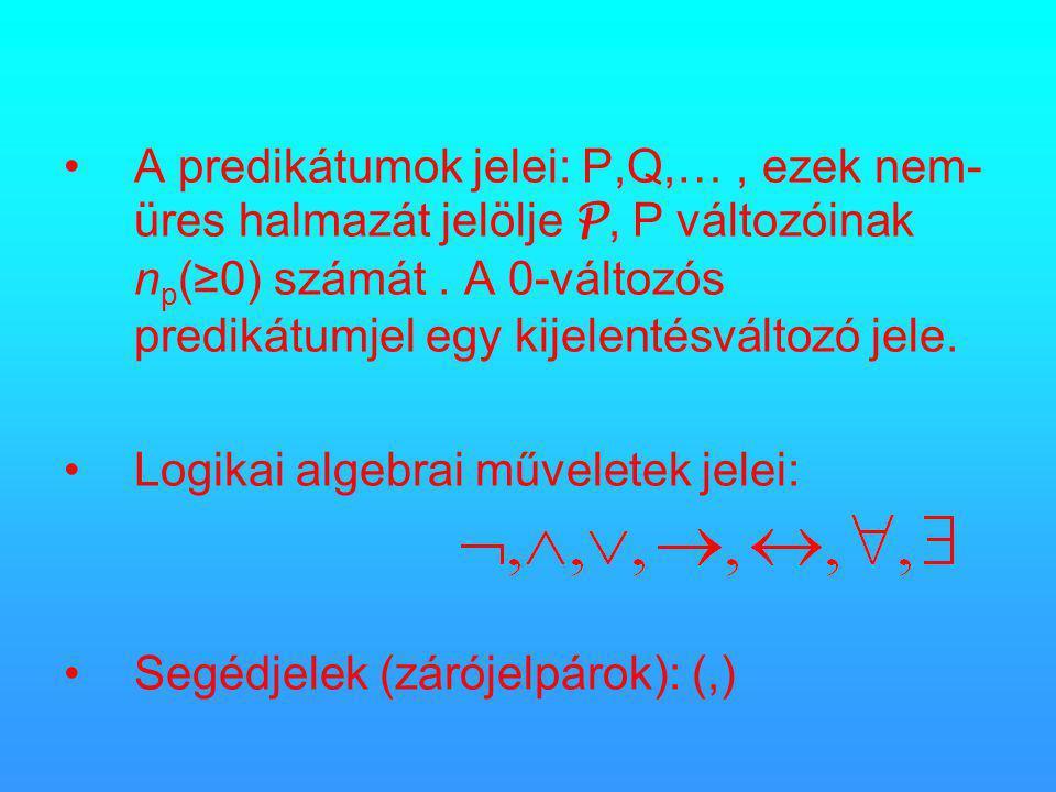 •A predikátumok jelei: P,Q,…, ezek nem- üres halmazát jelölje P, P változóinak n p (≥0) számát.