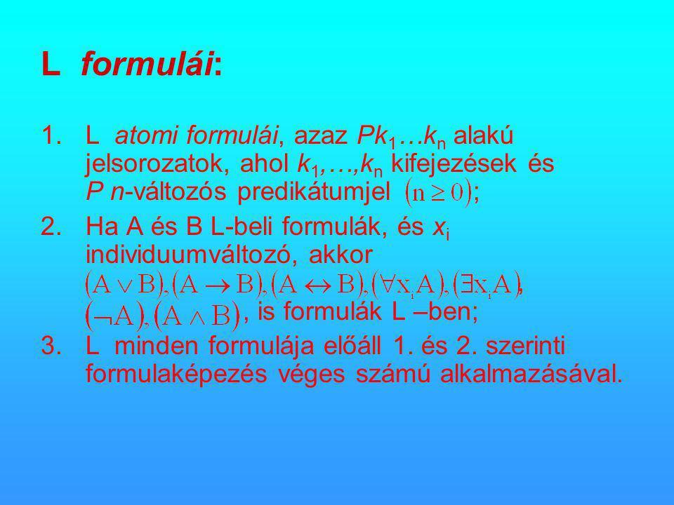 L formulái: 1.L atomi formulái, azaz Pk 1 …k n alakú jelsorozatok, ahol k 1,…,k n kifejezések és P n-változós predikátumjel ; 2.Ha A és B L-beli formulák, és x i individuumváltozó, akkor,, is formulák L –ben; 3.L minden formulája előáll 1.