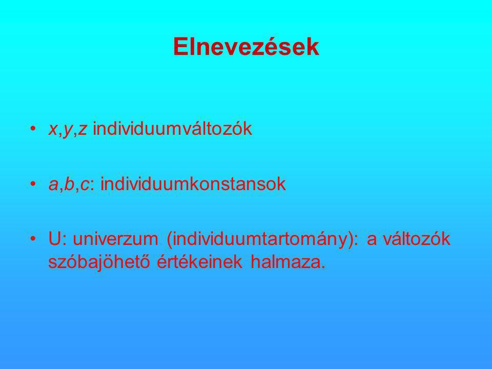 Elnevezések •x,y,z individuumváltozók •a,b,c: individuumkonstansok •U: univerzum (individuumtartomány): a változók szóbajöhető értékeinek halmaza.