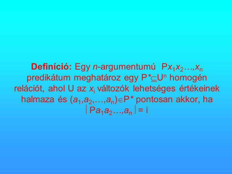 Definíció: Egy n-argumentumú Px 1 x 2 …,x n predikátum meghatároz egy P*  U n homogén relációt, ahol U az x i változók lehetséges értékeinek halmaza és (a 1,a 2,…,a n )  P* pontosan akkor, ha  Pa 1 a 2 …,a n  = i