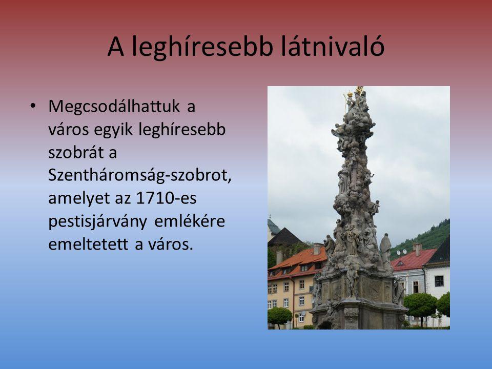 A leghíresebb látnivaló • Megcsodálhattuk a város egyik leghíresebb szobrát a Szentháromság-szobrot, amelyet az 1710-es pestisjárvány emlékére emeltetett a város.