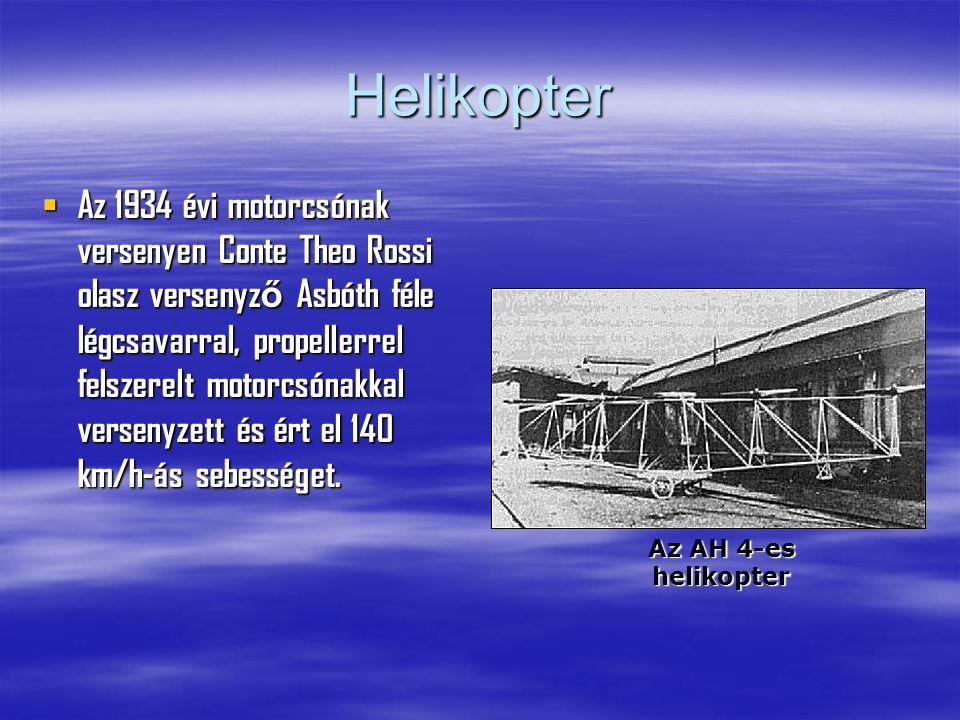 Helikopter  Az 1934 évi motorcsónak versenyen Conte Theo Rossi olasz versenyz ő Asbóth féle légcsavarral, propellerrel felszerelt motorcsónakkal versenyzett és ért el 140 km/h-ás sebességet.