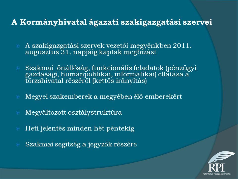 A Kormányhivatal ágazati szakigazgatási szervei  A szakigazgatási szervek vezetői megyénkben 2011. augusztus 31. napjáig kaptak megbízást  Szakmai ö