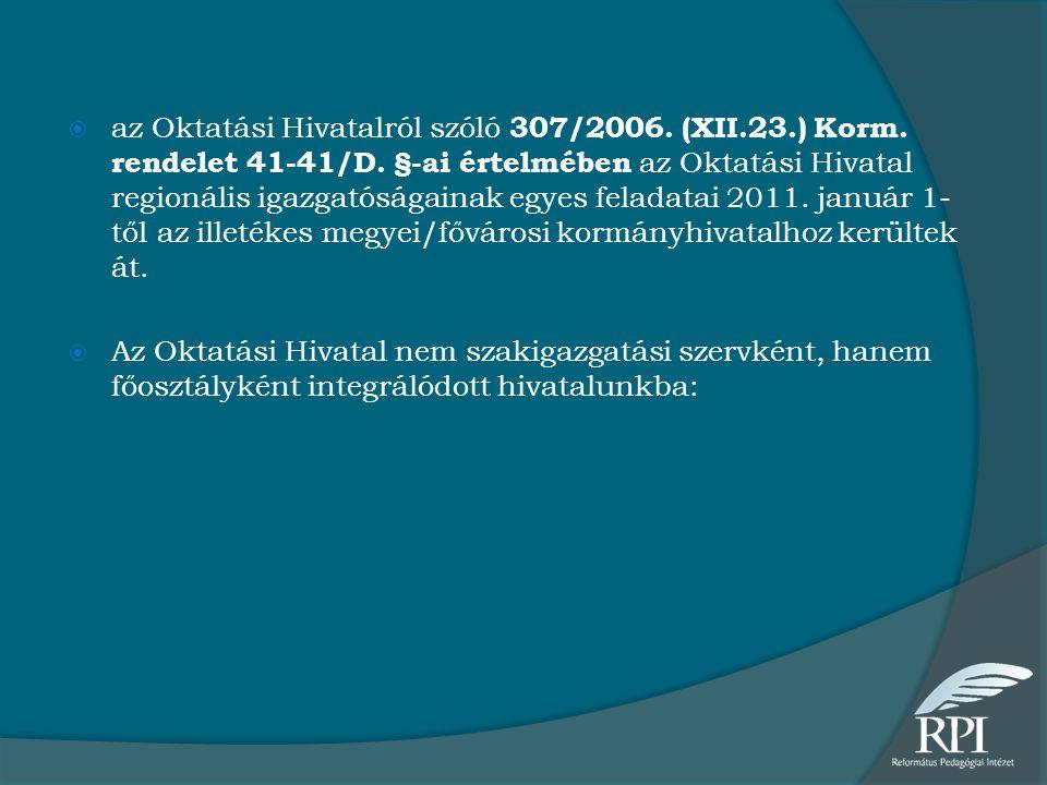  az Oktatási Hivatalról szóló 307/2006. (XII.23.) Korm. rendelet 41-41/D. §-ai értelmében az Oktatási Hivatal regionális igazgatóságainak egyes felad